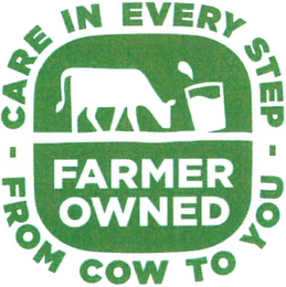 mark for FARMER OWNED - CARE IN EVERY STEP - FROM COW TO YOU, trademark #79175749