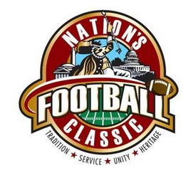 mark for NATION'S FOOTBALL CLASSIC TRADITION SERVICE UNITY HERITAGE, trademark #85019696