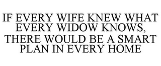 mark for IF EVERY WIFE KNEW WHAT EVERY WIDOW KNOWS, THERE WOULD BE A SMART PLAN IN EVERY HOME, trademark #85029237