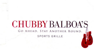 mark for CHUBBY BALBOA'S GO AHEAD. STAY ANOTHER ROUND. SPORTS GRILLE, trademark #85030513