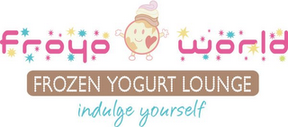 mark for FROYOWORLD, FROZEN YOGURT LOUNGE, INDULGE YOURSELF, trademark #85102513