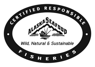 mark for ALASKA SEAFOOD WILD, NATURAL & SUSTAINABLE CERTIFIED RESPONSIBLE FISHERIES, trademark #85103546