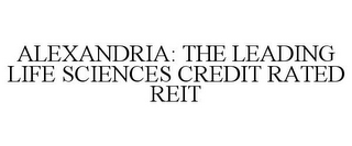 mark for ALEXANDRIA: THE LEADING LIFE SCIENCES CREDIT RATED REIT, trademark #85158150