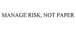 mark for MANAGE RISK, NOT PAPER, trademark #85161069