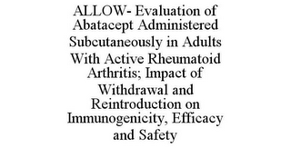 mark for ALLOW- EVALUATION OF ABATACEPT ADMINISTERED SUBCUTANEOUSLY IN ADULTS WITH ACTIVE RHEUMATOID ARTHRITIS; IMPACT OF WITHDRAWAL AND REINTRODUCTION ON IMMUNOGENICITY, EFFICACY AND SAFETY, trademark #85164758