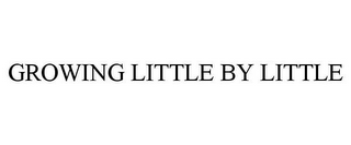 mark for GROWING LITTLE BY LITTLE, trademark #85175857