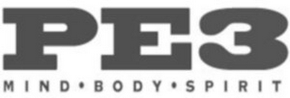 mark for PE3 MIND BODY SPIRIT, trademark #85209558