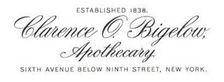 mark for CLARENCE O. BIGELOW, APOTHECARY. ESTABLISHED 1838. SIXTH AVENUE BELOW NINTH STREET, NEW YORK., trademark #85210291