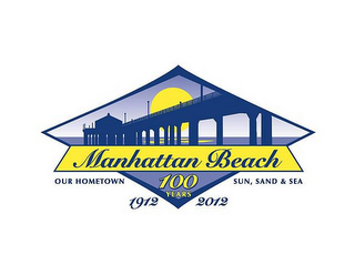 mark for MANHATTAN BEACH OUR HOMETOWN SUN SAND &SEA 100 YEARS 1912 2012, trademark #85214473