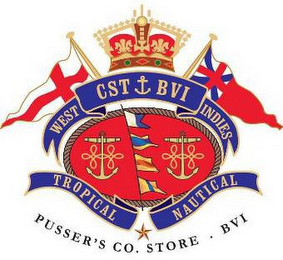 mark for WEST CST BVI INDIES TROPICAL NAUTICAL PUSSER'S CO. STORE · BVI, trademark #85234716