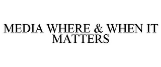 mark for MEDIA WHERE & WHEN IT MATTERS, trademark #85258018