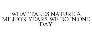mark for WHAT TAKES NATURE A MILLION YEARS WE DO IN ONE DAY, trademark #85295412