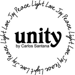 mark for UNITY BY CARLOS SANTANA LIGHT LOVE JOY PEACE LIGHT LOVE JOY PEACE LIGHT LOVE JOY PEACE LIGHT LOVE JOY PEACE, trademark #85334561