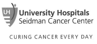 mark for UNIVERSITY HOSPITALS SEIDMAN CANCER CENTER CURING CANCER EVERY DAY UH, trademark #85354302