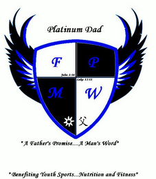 "mark for PLATINUM DAD F P M W JOHN 3:16 LUKE 15:11 ""A FATHER'S PROMISE.... A MAN'S WORD"" ""BENEFITING YOUTH SPORTS...NUTRITION AND FITNESS"", trademark #85355651"