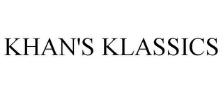 mark for KHAN'S KLASSICS, trademark #85372910