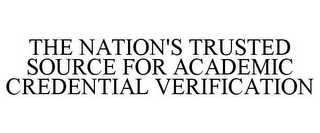 mark for THE NATION'S TRUSTED SOURCE FOR ACADEMIC CREDENTIAL VERIFICATION, trademark #85396660