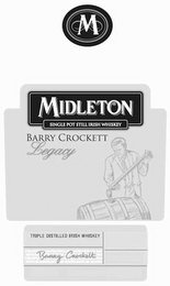 mark for M MIDLETON SINGLE POT STILL IRISH WHISKEY BARRY CROCKETT LEGACY BARRY CROCKETT, trademark #85400272