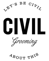 mark for CIVIL GROOMING LET'S BE CIVIL ABOUT THIS, trademark #85423218