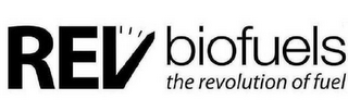 mark for REV BIOFUELS THE REVOLUTION OF FUEL, trademark #85426341