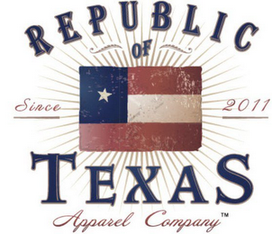 mark for REPUBLIC OF TEXAS APPAREL COMPANY SINCE 2011, trademark #85429511