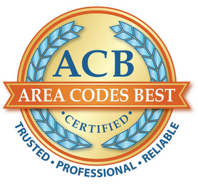 mark for ACB AREA CODES BEST · CERTIFIED · TRUSTED · PROFESSIONAL · RELIABLE, trademark #85432581