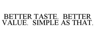 mark for BETTER TASTE. BETTER VALUE. SIMPLE AS THAT., trademark #85433773