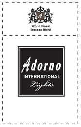 mark for A WORLD FINEST TOBACCO BLEND ADORNO LIGHTS, trademark #85450459