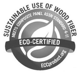 mark for SUSTAINABLE USE OF WOOD FIBER MEETS COMPOSITE PANEL ASSN STANDARD 4-11  ECO-CERTIFIED ECCPRODUCT.ORG, trademark #85451053