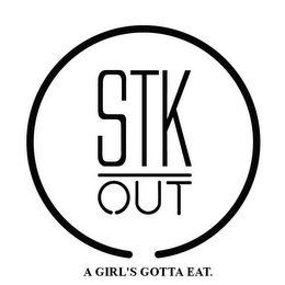 mark for STK OUT A GIRL'S GOTTA EAT., trademark #85451863