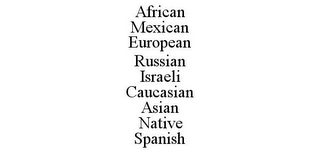 mark for AFRICAN MEXICAN EUROPEAN RUSSIAN ISRAELI CAUCASIAN ASIAN NATIVE SPANISH, trademark #85464194