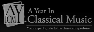 mark for AYICM A YEAR IN CLASSICAL MUSIC YOUR EXPERT GUIDE TO THE CLASSICAL REPERTOIRE, trademark #85465524