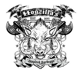 "mark for HOGZILLA'S EST. 2011 ""INSPIRED BARBEQUE"", trademark #85467910"