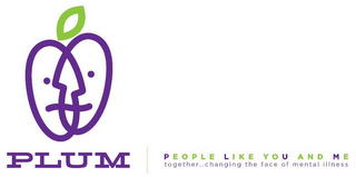 mark for PLUM PEOPLE LIKE YOU AND ME TOGETHER...CHANGING THE FACE OF MENTAL ILLNESS, trademark #85490200