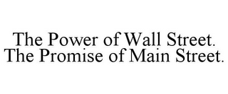 mark for THE POWER OF WALL STREET. THE PROMISE OF MAIN STREET., trademark #85491858