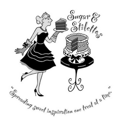 "mark for SUGAR & STILETTOS ""SPREADING SWEET INSPIRATION ONE TREAT AT A TIME."", trademark #85502194"