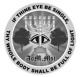 mark for IF THINE EYE BE SINGLE, THY WHOLE BODY SHALL BE FULL OF LIGHT AOM, MST, trademark #85505527