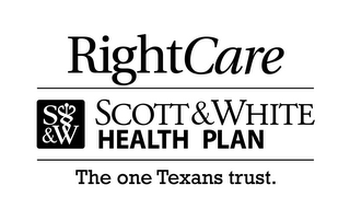 mark for RIGHTCARE S&W SCOTT & WHITE HEALTH PLANTHE ONE TEXANS TRUST., trademark #85517847