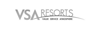 mark for VSA RESORTS VALUE SERVICE ATMOSPHERE, trademark #85523753