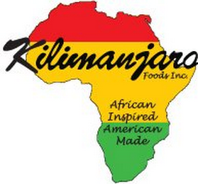 mark for KILIMANJARO FOODS INC. AFRICAN INSPIRED AMERICAN MADE, trademark #85529362