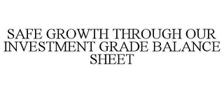 mark for SAFE GROWTH THROUGH OUR INVESTMENT GRADE BALANCE SHEET, trademark #85530929