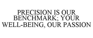 mark for PRECISION IS OUR BENCHMARK; YOUR WELL-BEING, OUR PASSION, trademark #85537988