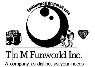 mark for T N M FUNWORLD INC. A COMPANY AS DISTINCT AS YOUR NEEDS. TNMFUNWORLD@GMAIL.COM, trademark #85546449