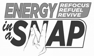 mark for ENERGY IN A SNAP REFOCUS REFUEL REVIVE, trademark #85550789