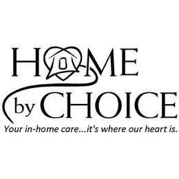 mark for HOME BY CHOICE YOUR IN-HOME CARE... IT'S WHERE OUR HEART IS., trademark #85552296