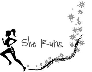 mark for SHE RUNS., trademark #85557166