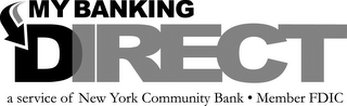 mark for MY BANKING DIRECT A SERVICE OF NEW YORK COMMUNITY BANK · MEMBER FDIC, trademark #85568383