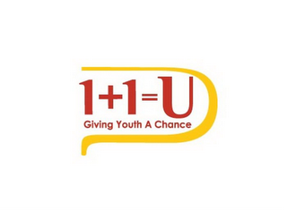 mark for 1+1=U GIVING YOUTH A CHANCE U, trademark #85575530
