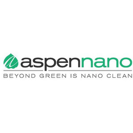mark for ASPENNANO BEYOND GREEN IS NANO CLEAN, trademark #85584143