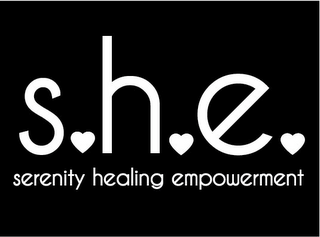 mark for S.H.E. SERENITY HEALING EMPOWERMENT, trademark #85584938